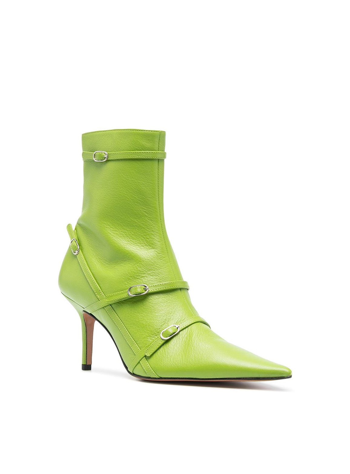 Belt pointed ankle boots