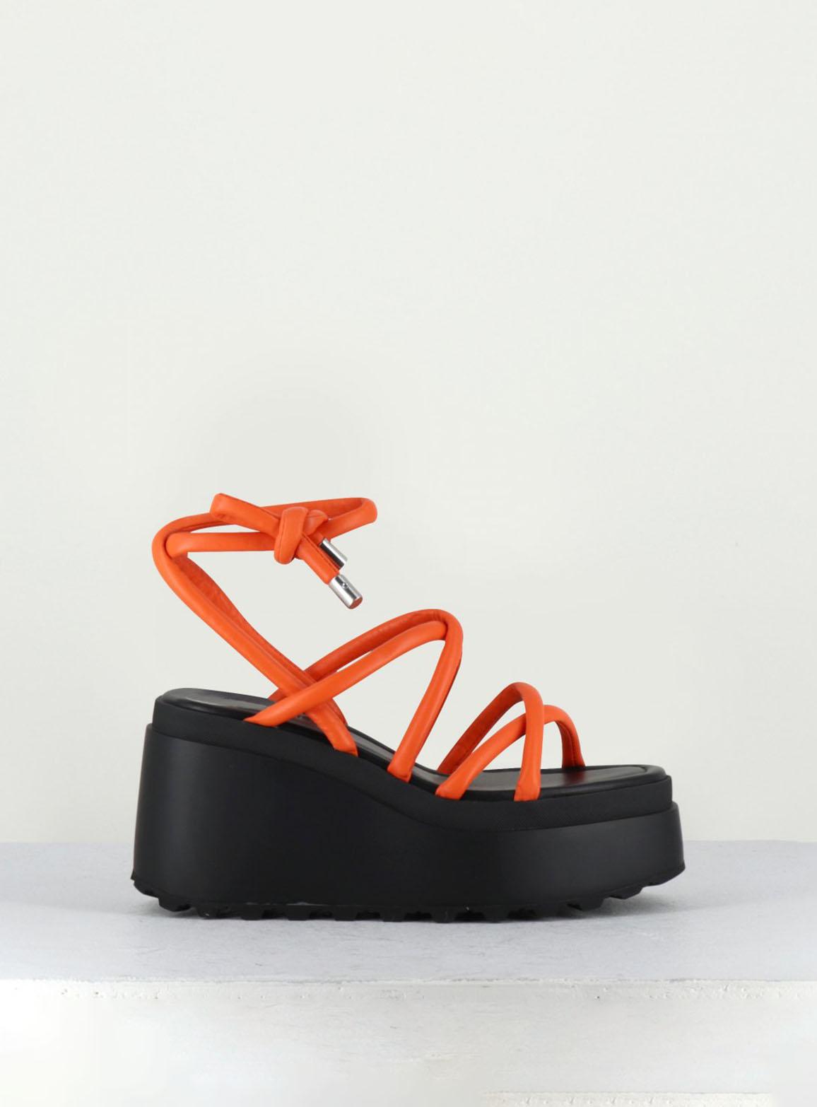 Orange leather wedge sandals