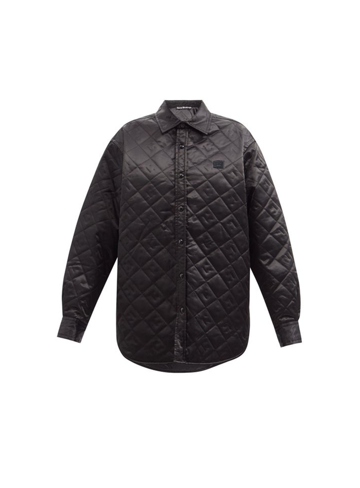 Face-quilted satin shirt jacket