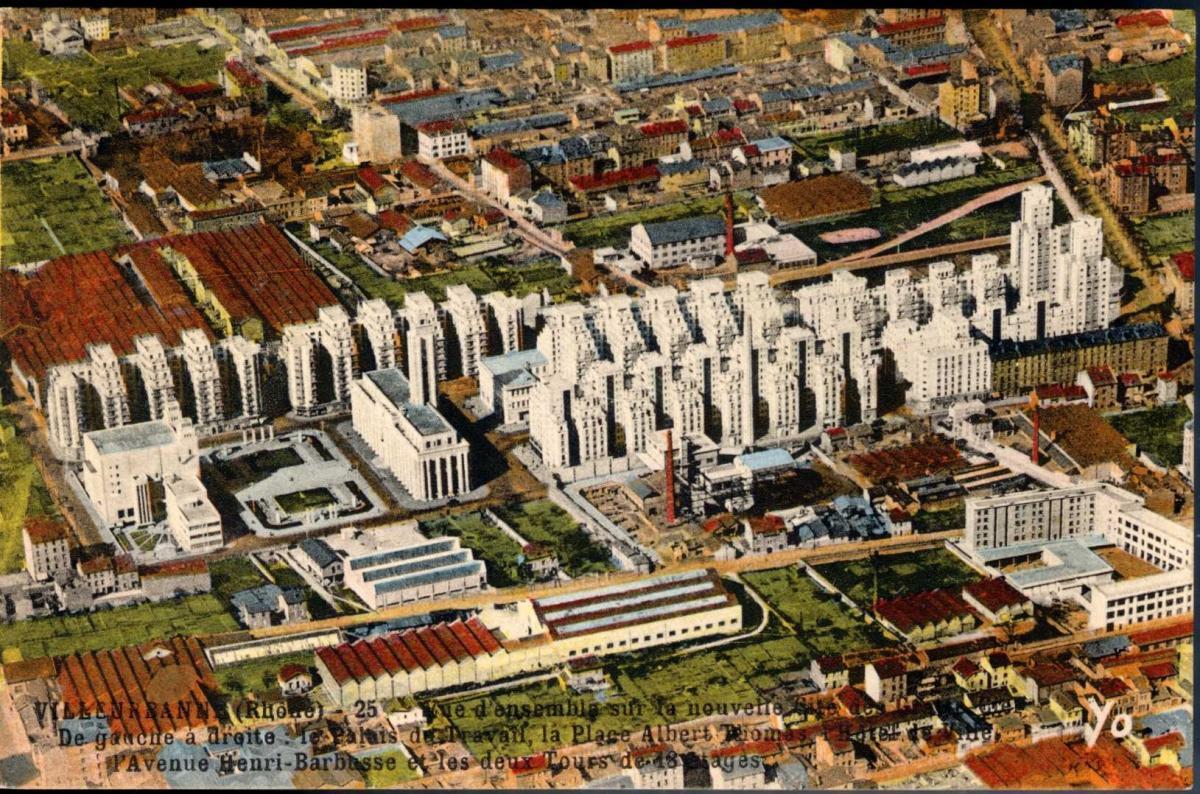 vue de gratte-ciel villeurbane colorized