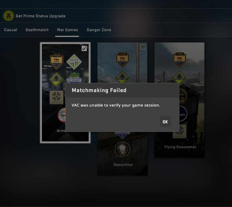 Error Code Vac was unable to verify game session