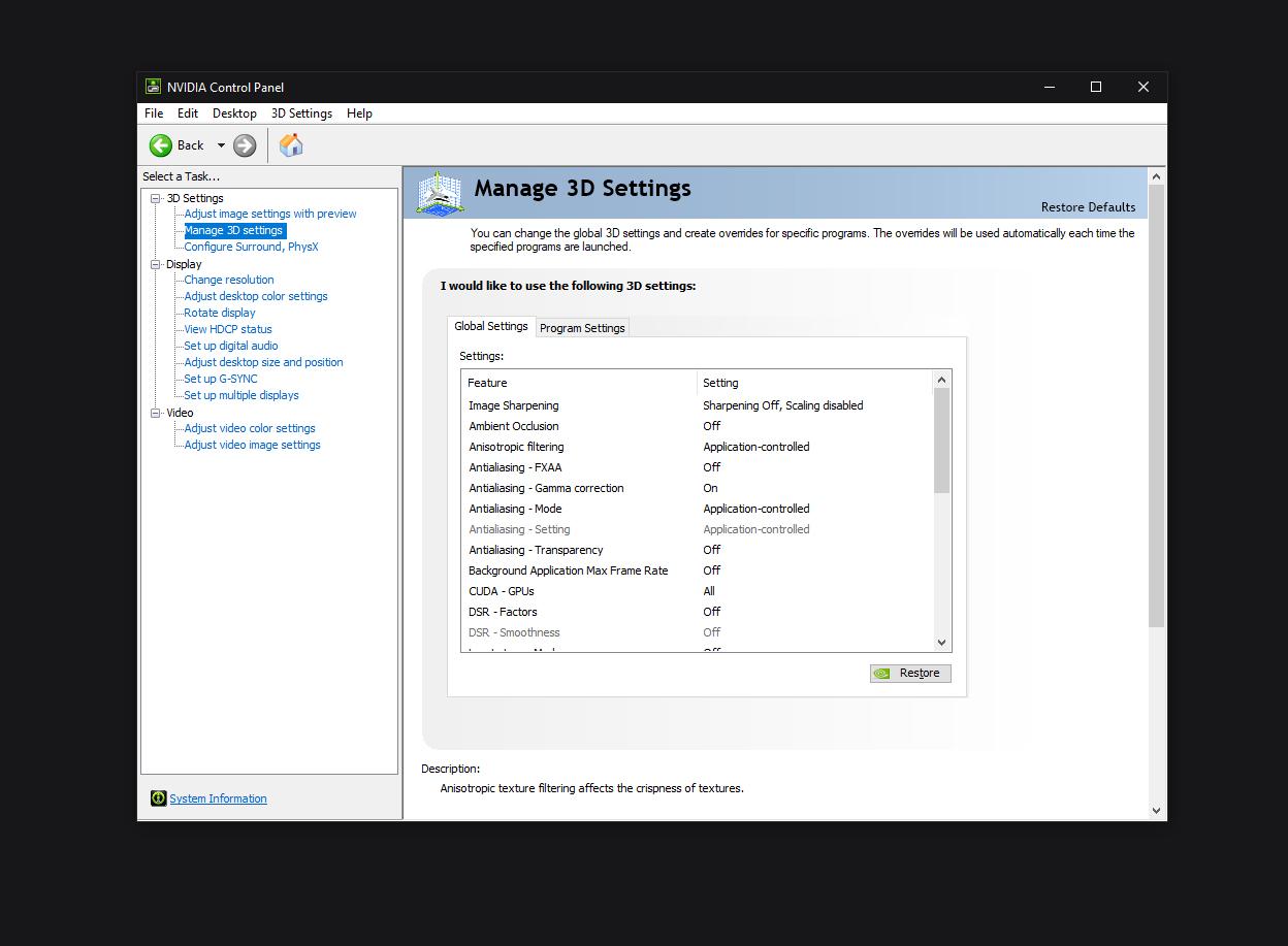 3D Nvidia settings CSGO