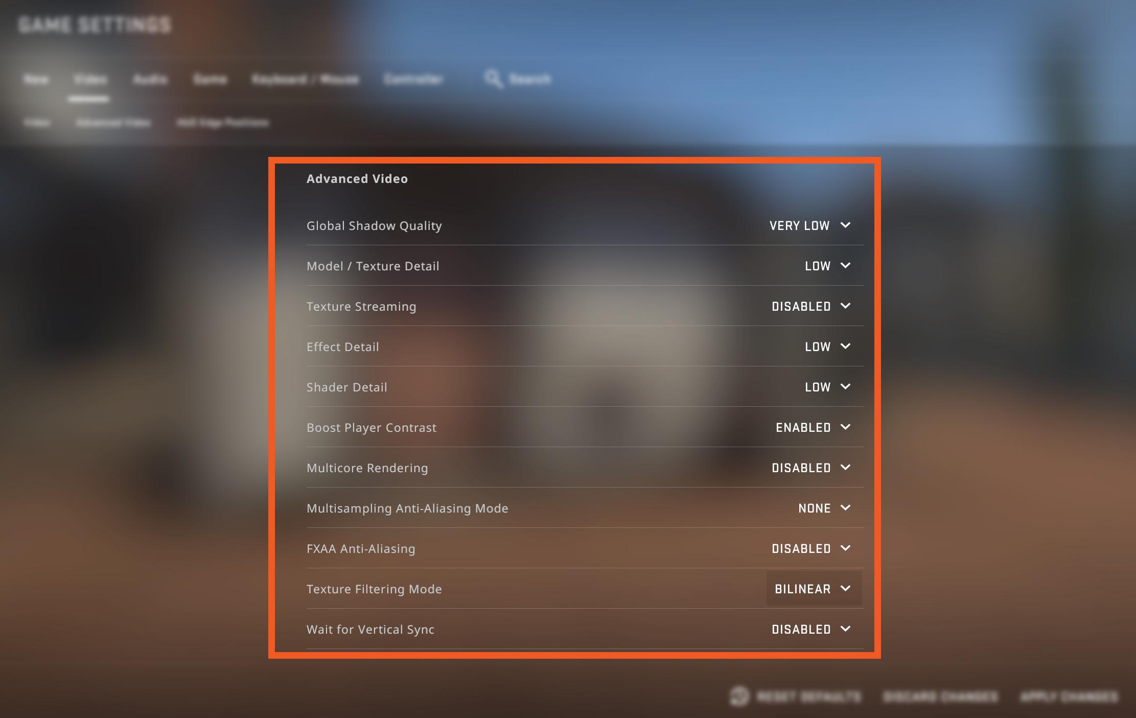 best graphic settings CSGO FPS
