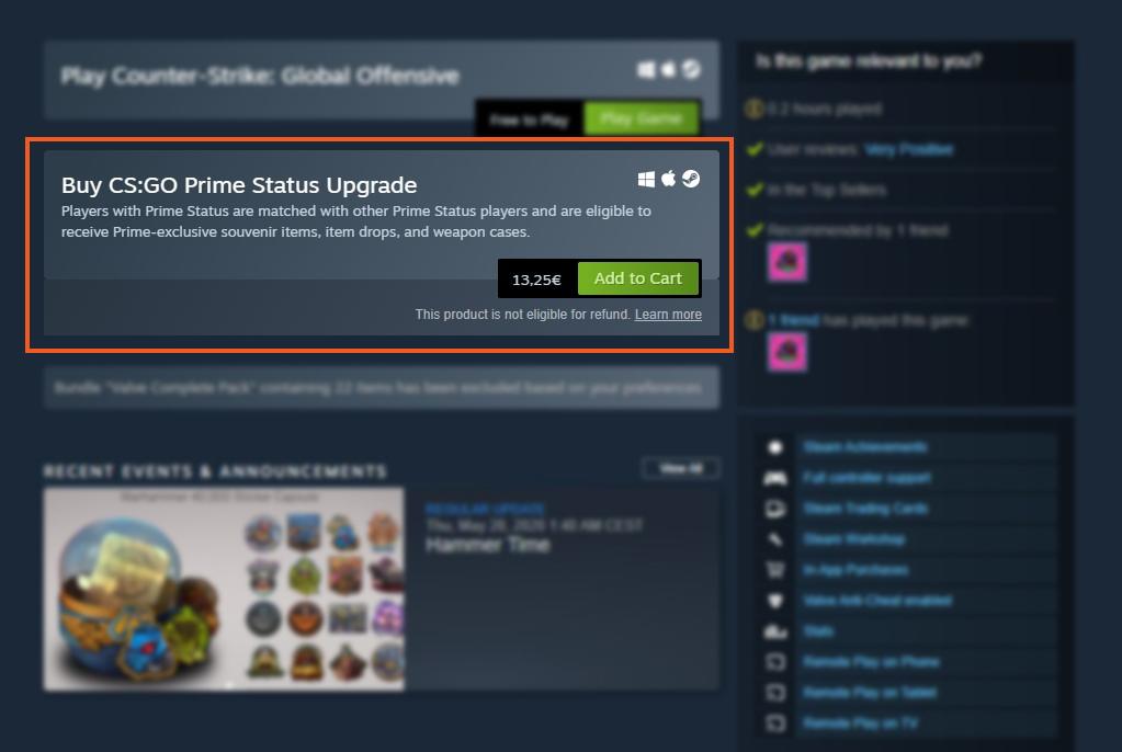 Buy CS GO Prime Status Upgrade on Steam