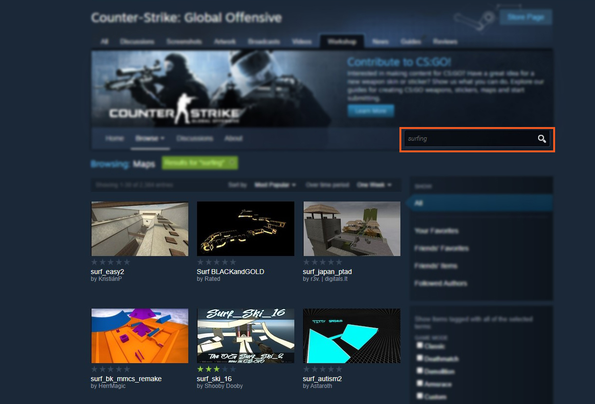 Search Surfing CS GO in Steam Workshop How to