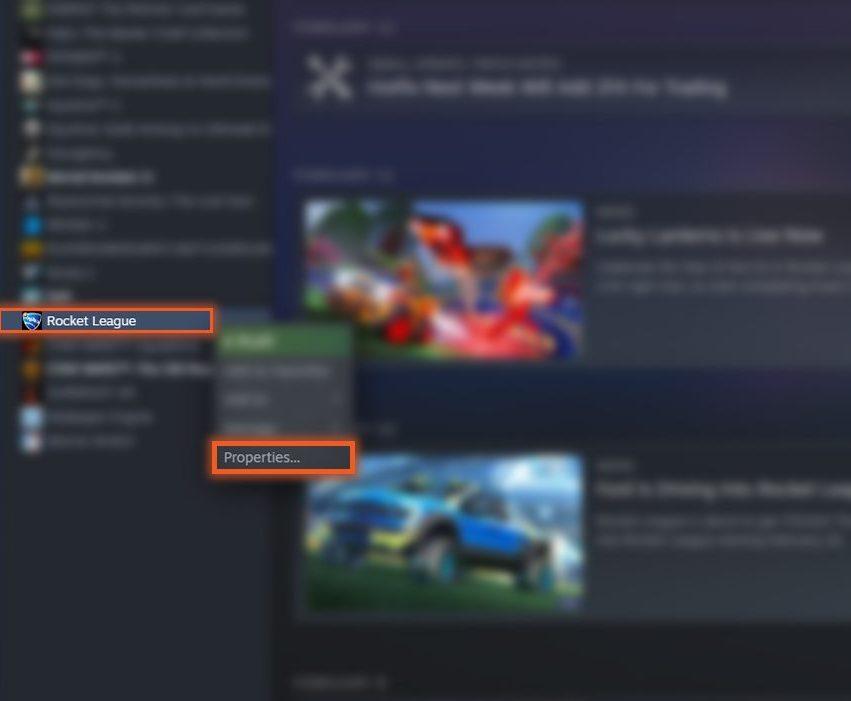 Steam Properties Verify Rocket League