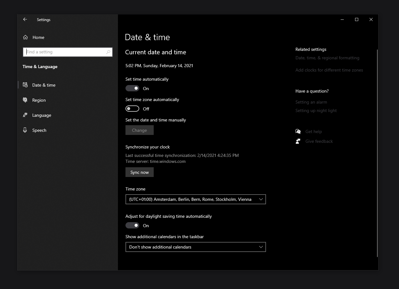 Synchronize Time settings windows 10