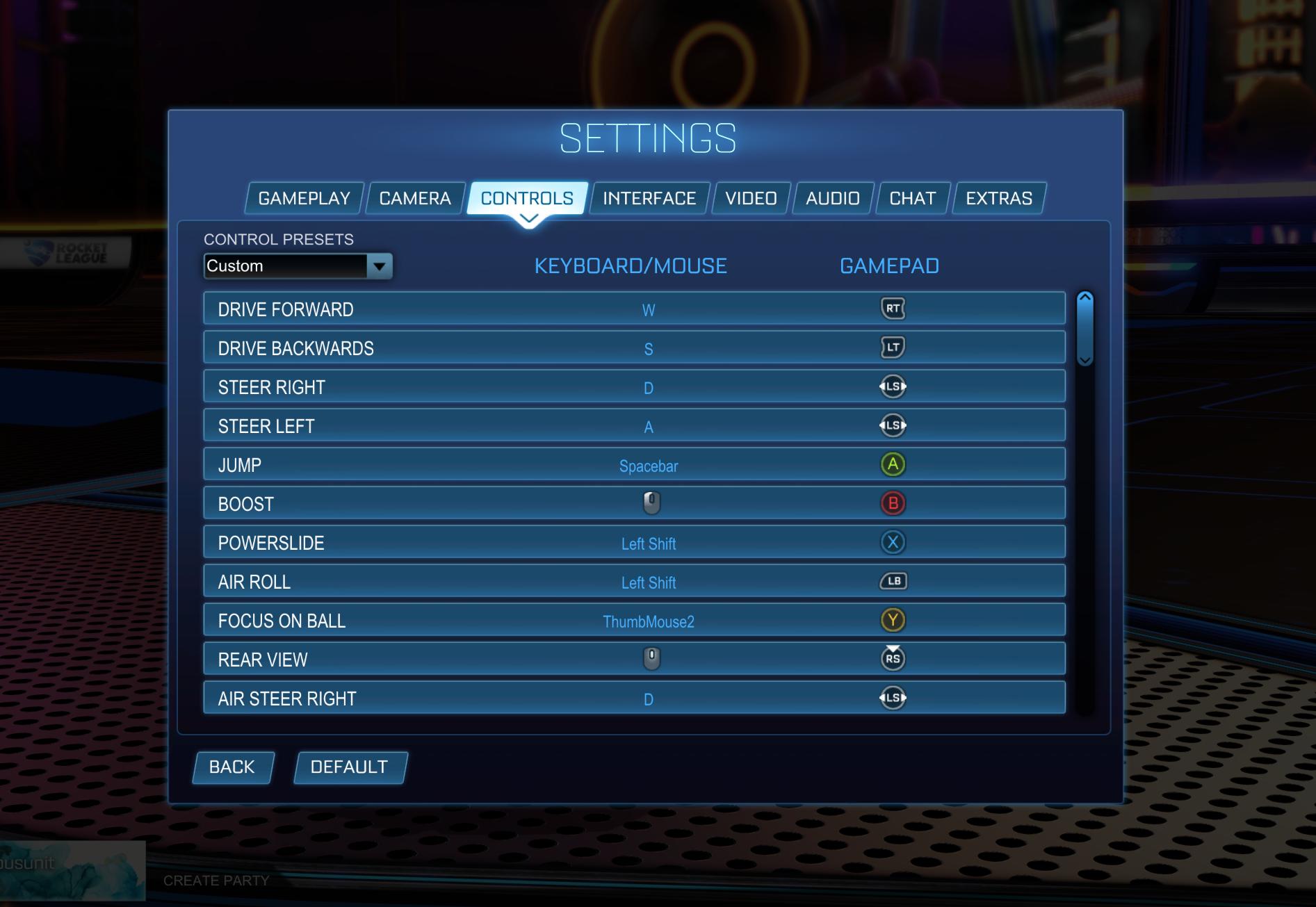 reassigned controls Rocket League