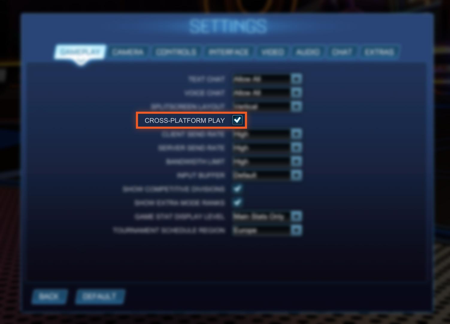 Enable Crossplay Rocket League