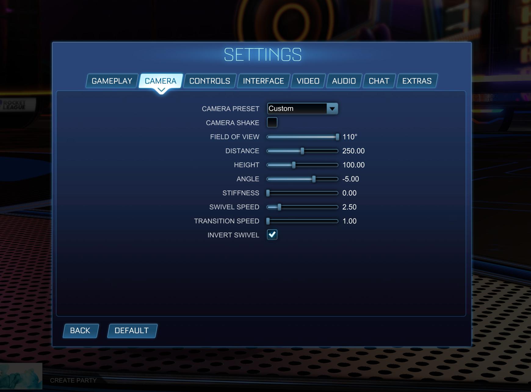 Best camera settings Rocket League