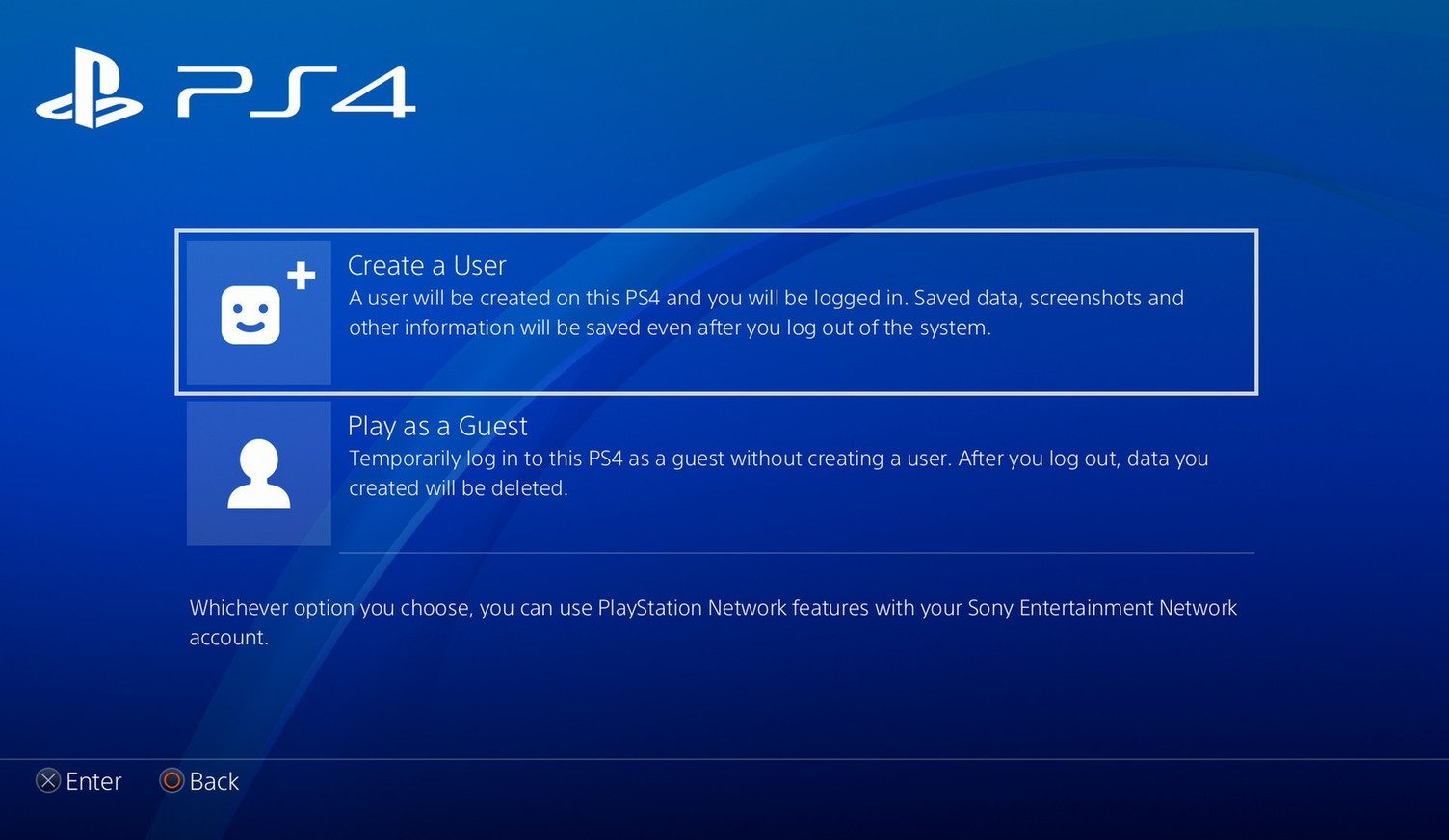 PS4 Add guest Account