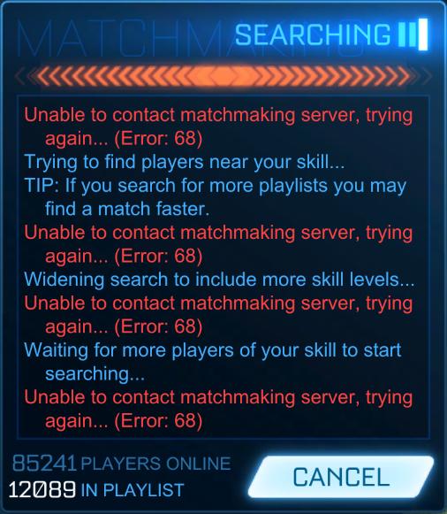 Rocket League Error 68 Fix