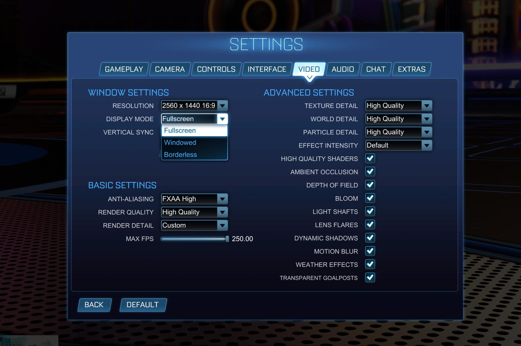 Rocket League Fullscreen