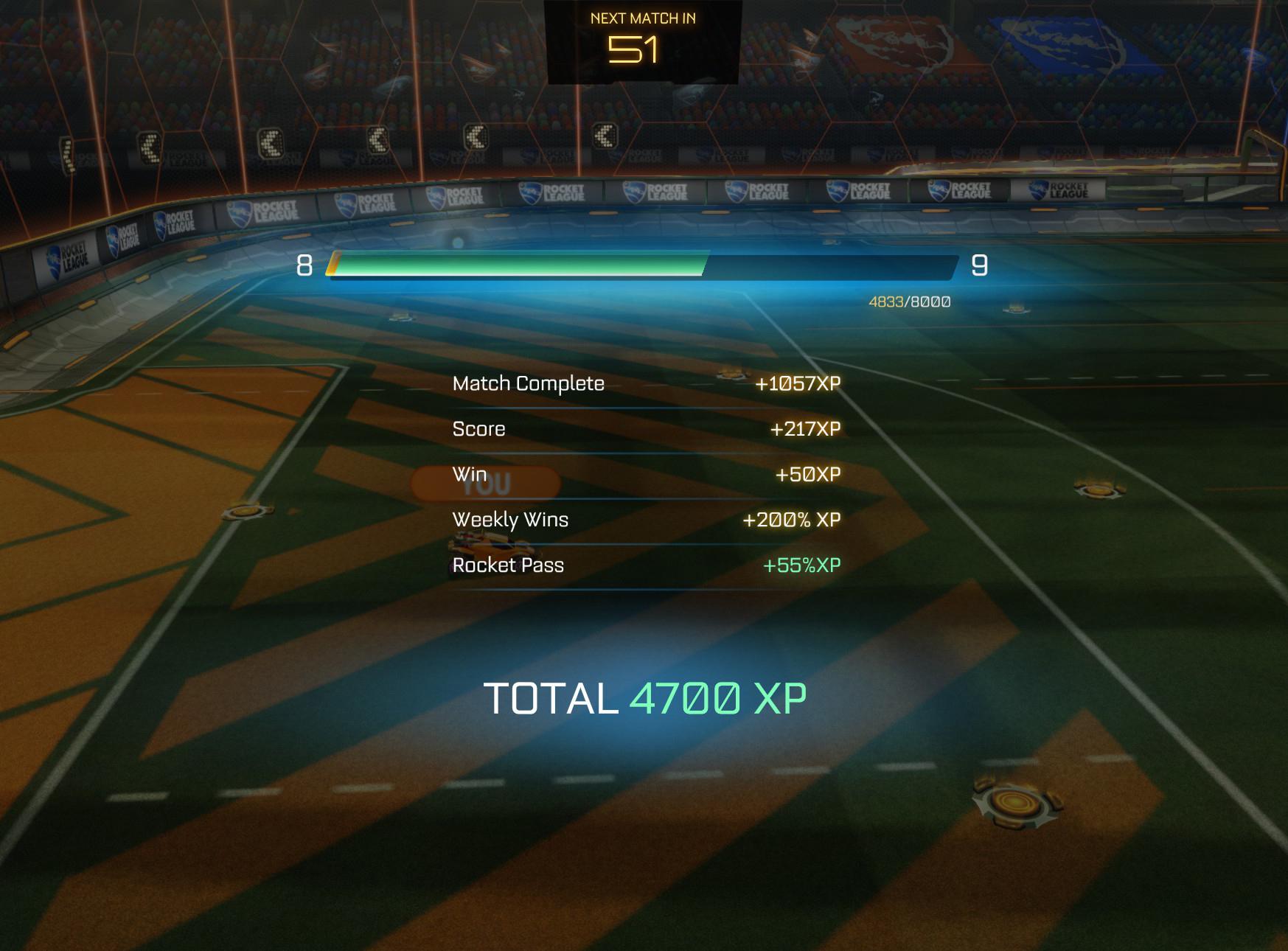 Rocket League XP level progression