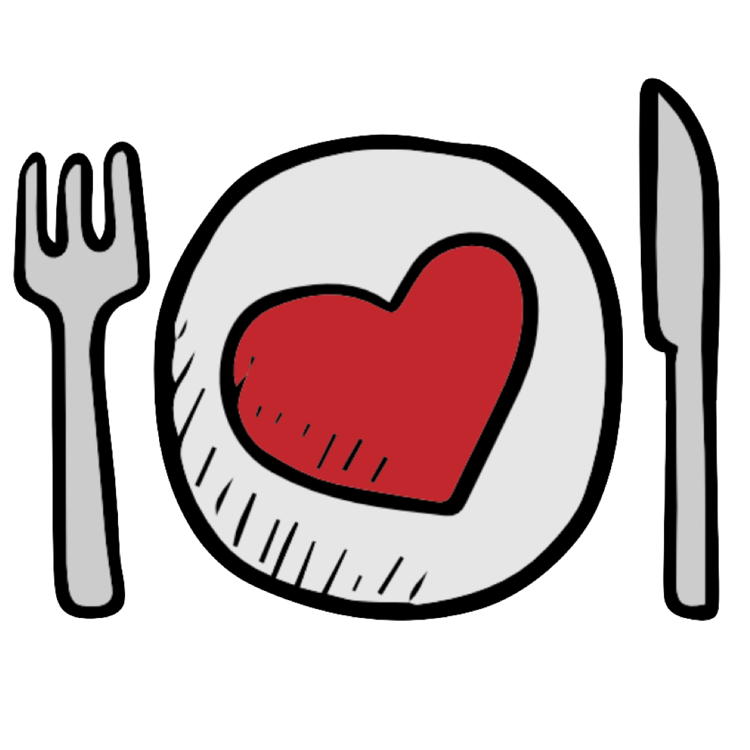 Cute plate with a heart plus a fork and a knife