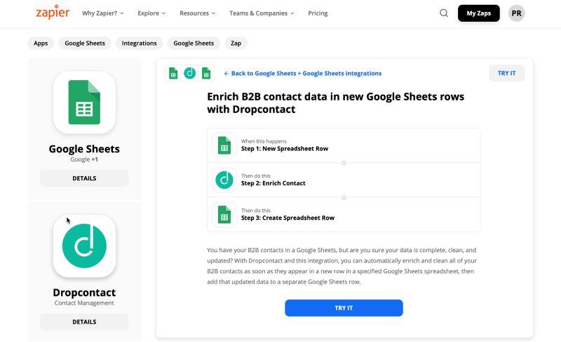 Workflow Zapier : Enrichir ses contacts B2B (dont les emails) directement dans Google Sheet