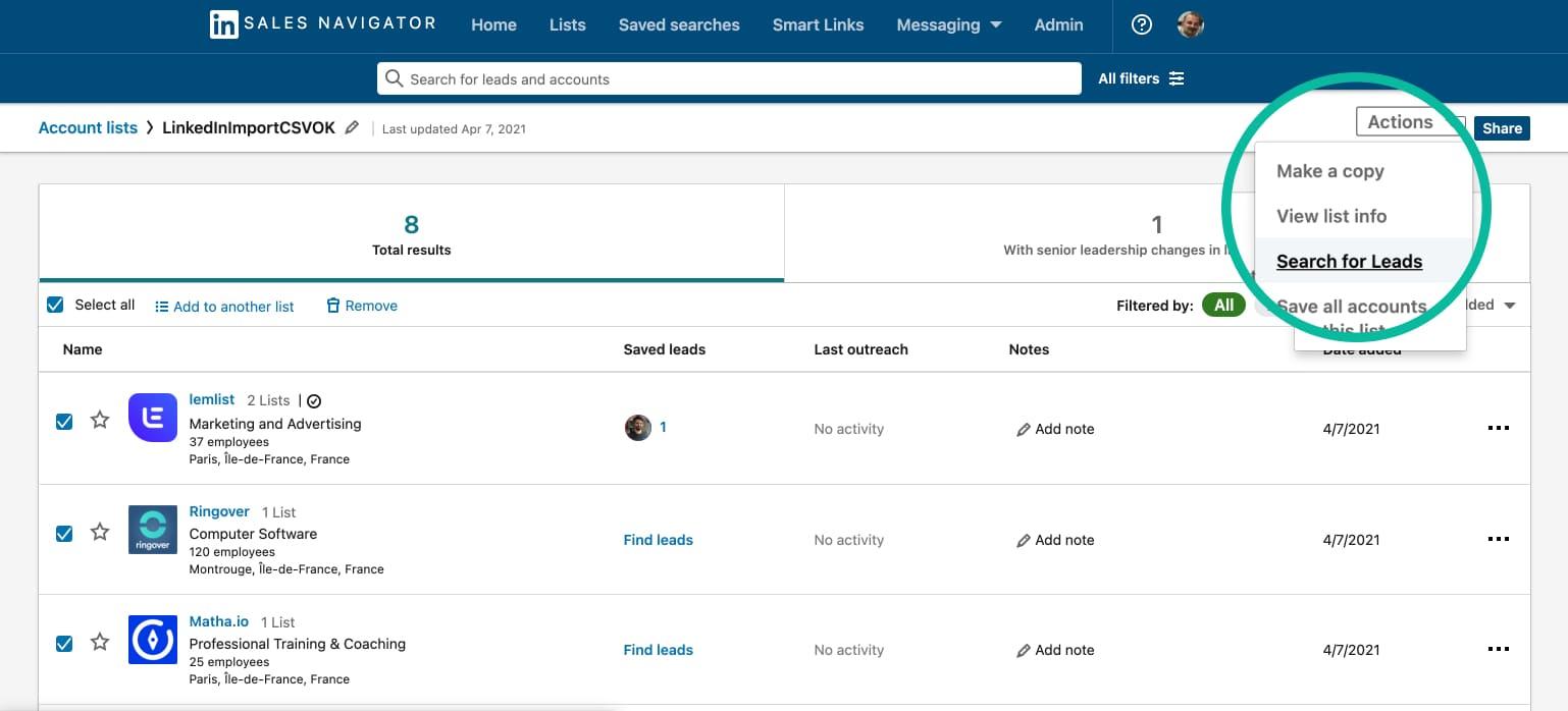 Linkedin - Recherche de leads à partir d'un fichier csv