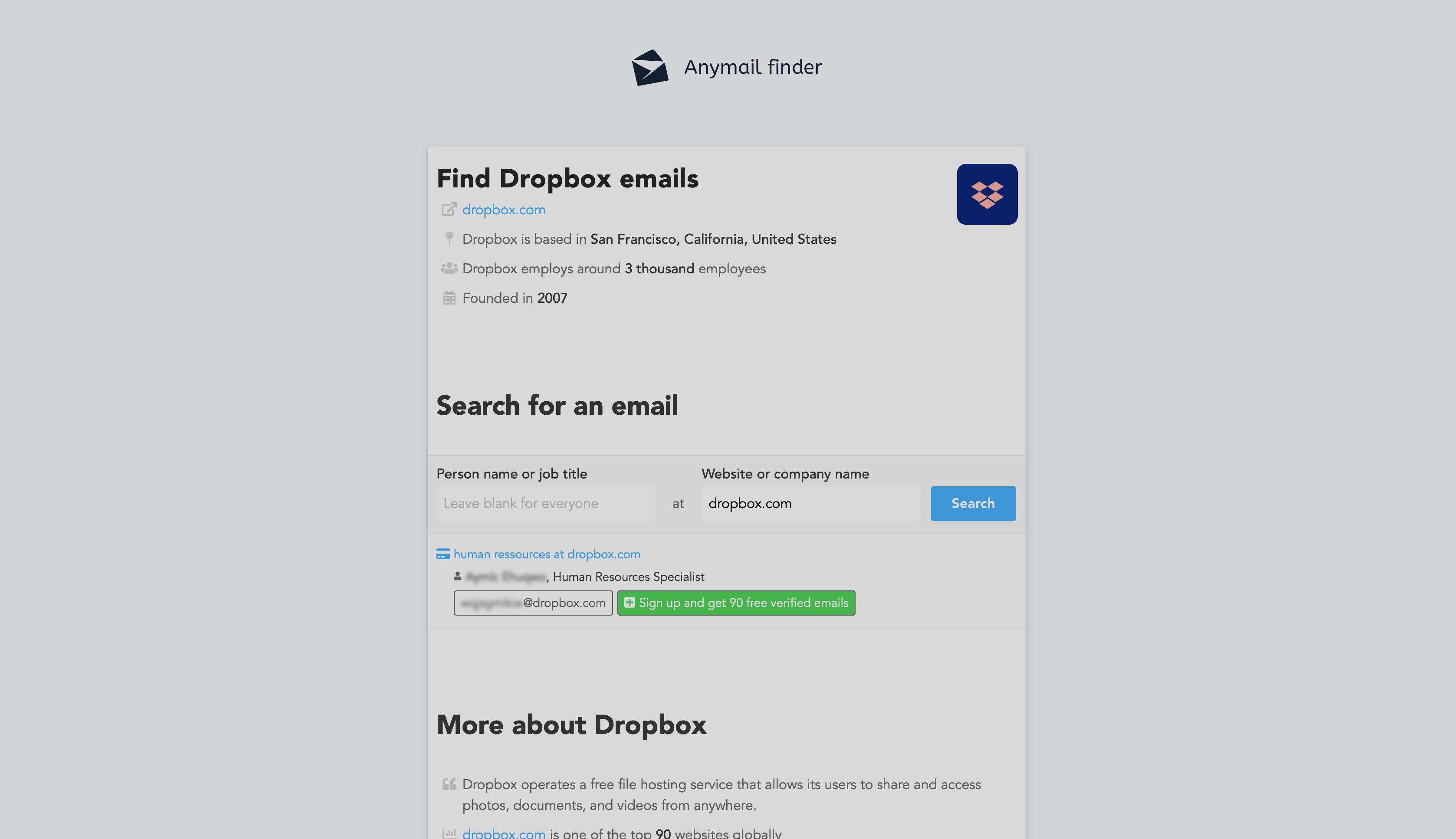 Top Meilleur email finder : Anymail Finder