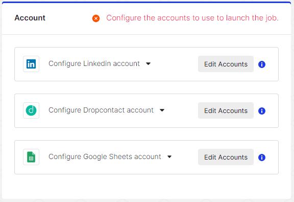 Connecter ses comptes LinkedIn, Dropcontact et Google Sheets