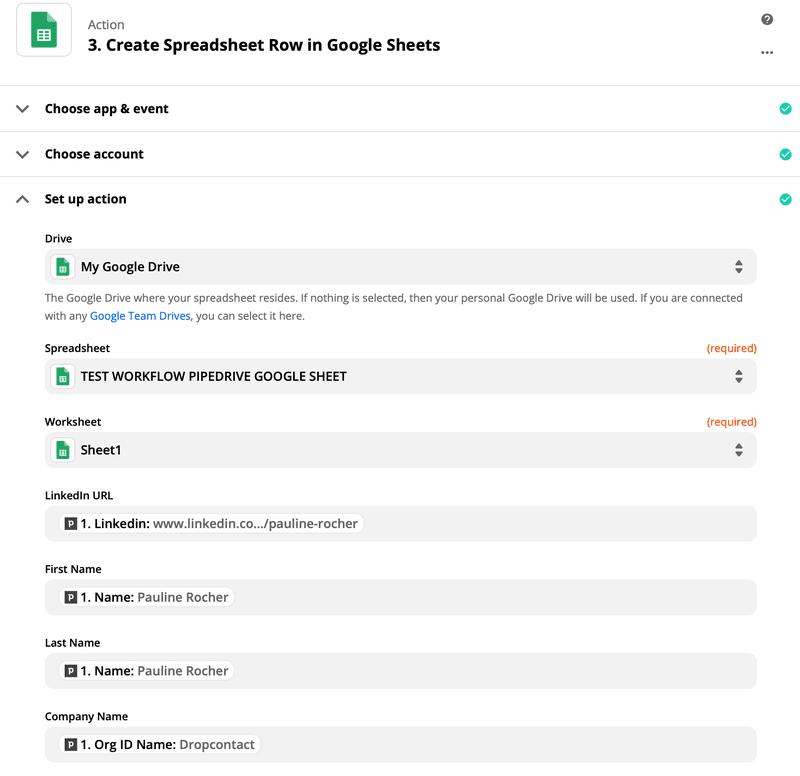Matcher les champs Google Sheets