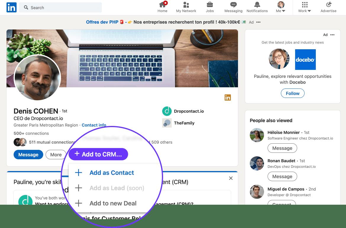 Leadjet - Extension pour scraper LinkedIn et ajout CRM