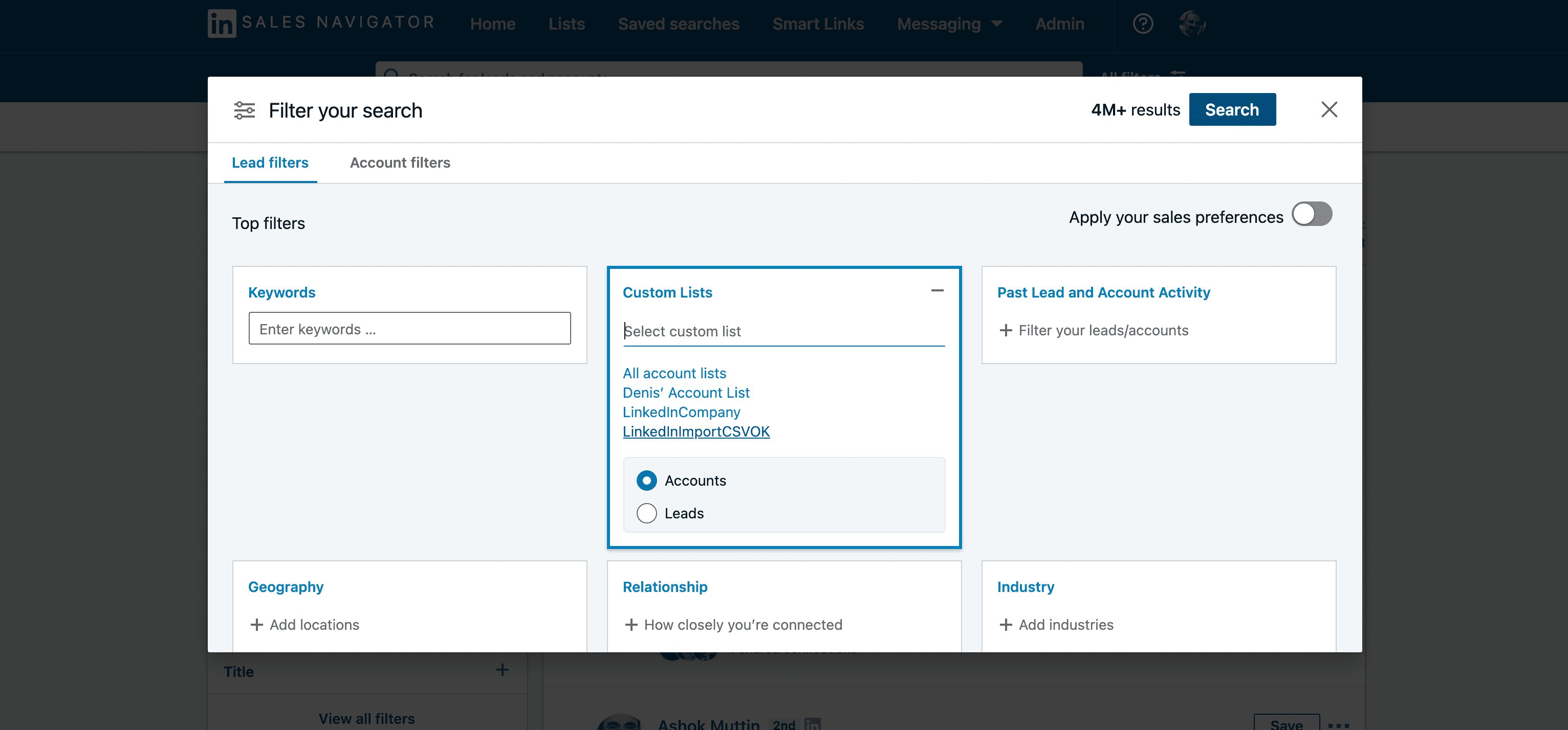 Filtre de recherche Sales Navigator : custom lists