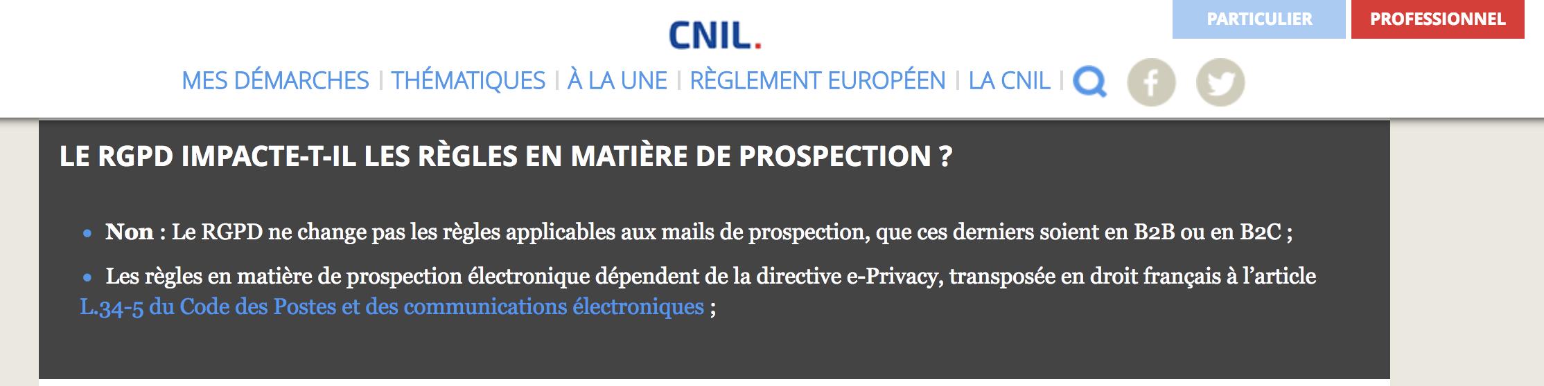 Landing Page de la CNIL