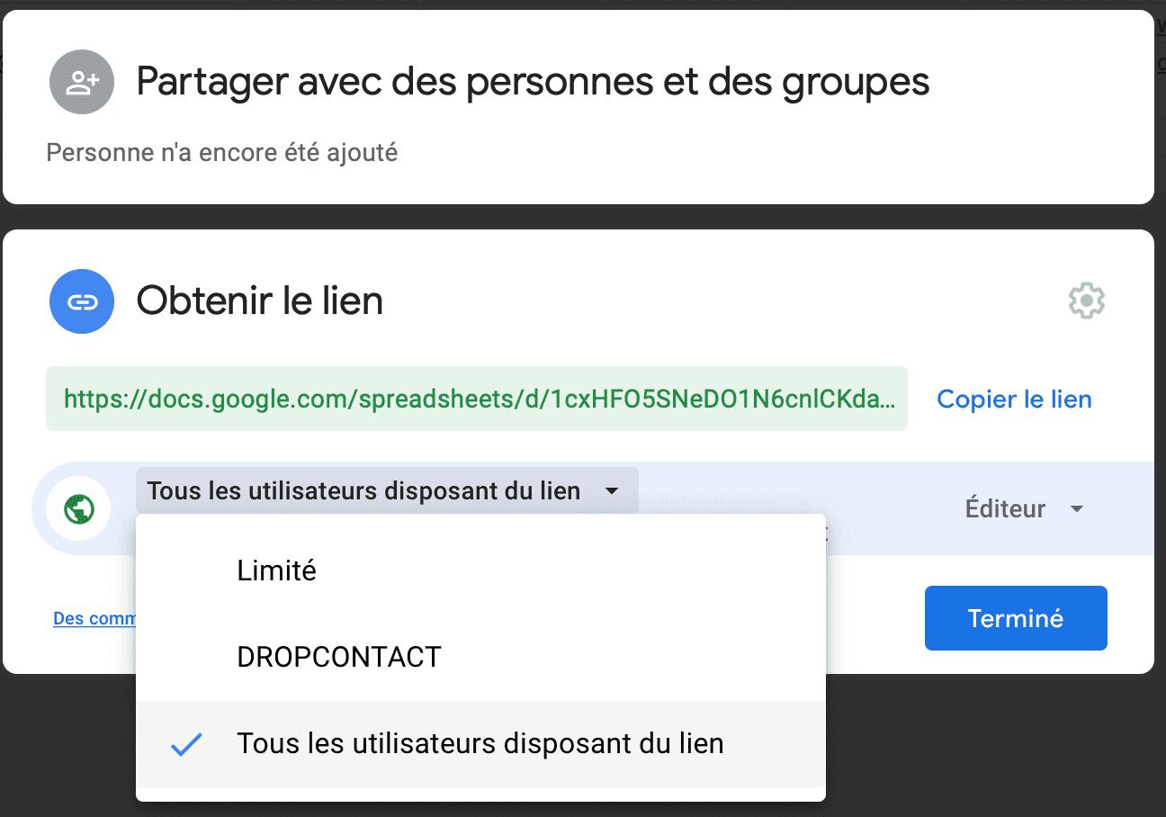 Activer le partage et la modification de son Google Sheet aux personnes disposant du lien