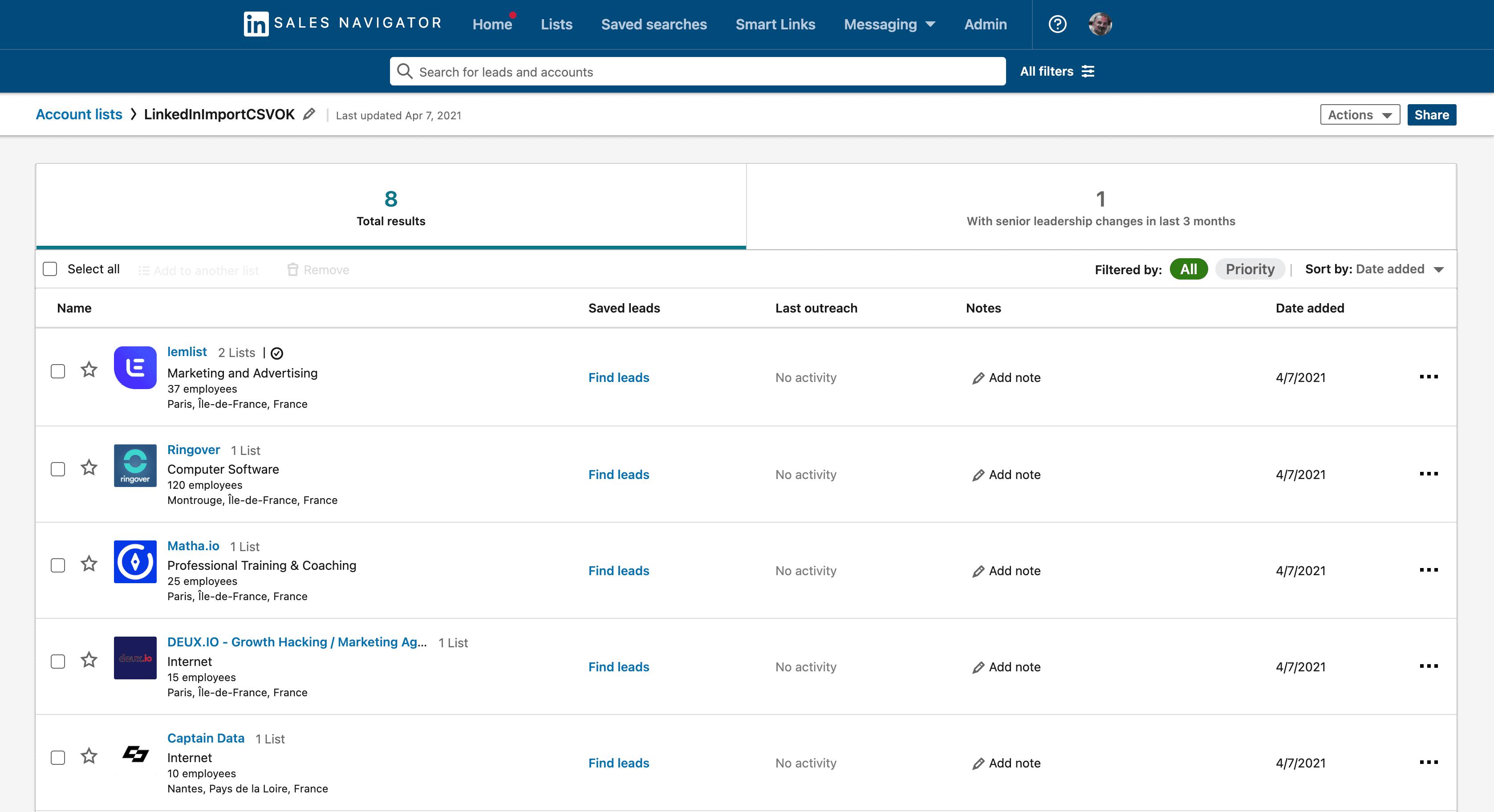 Listes de comptes dans LinkedIn Sales Navigator