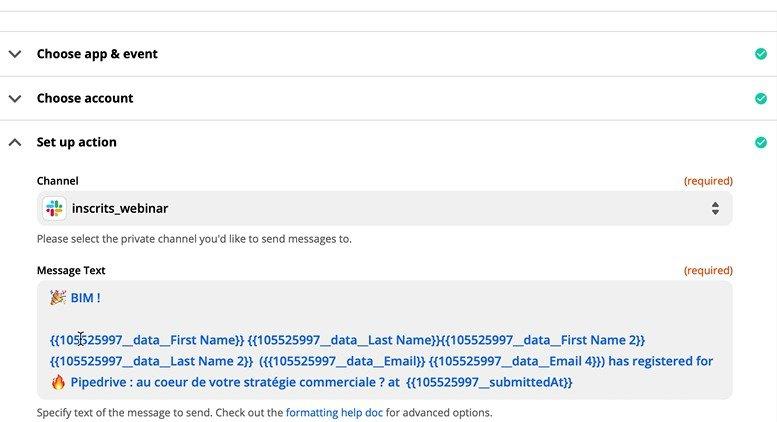 Personnaliser son message Slack suite à une inscription