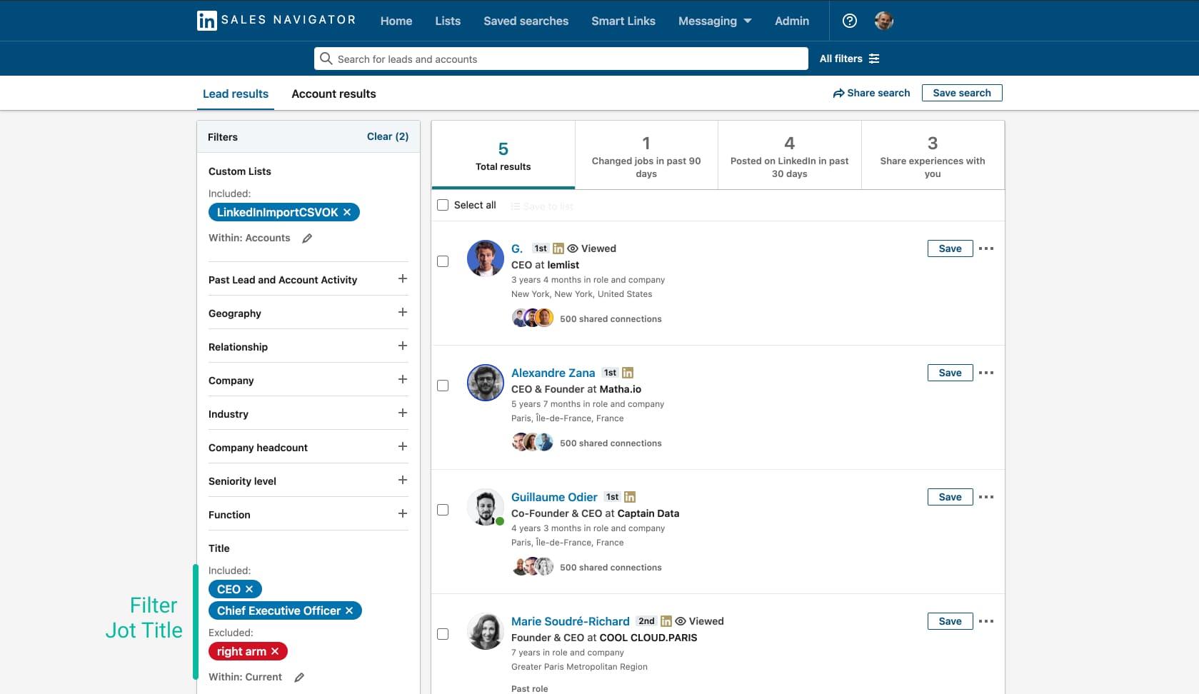 filter its business import on Linkedin Sales Navigator