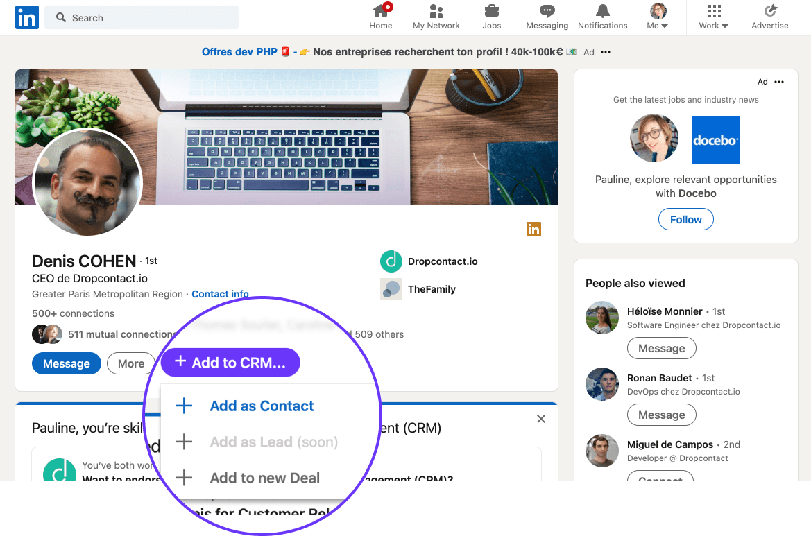 Leadjet - Extension to scrape LinkedIn and add your lead to CRM