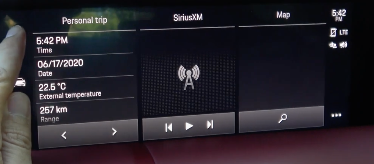 The home screen of the infotainment system