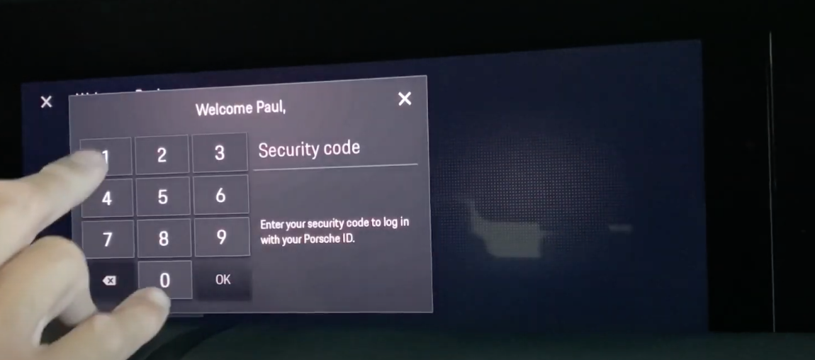 A screen showing a number pad for inputting a security PIN
