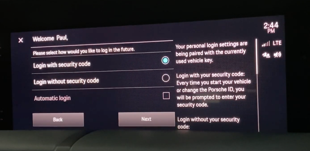 A screen showing a secure login choice for the user