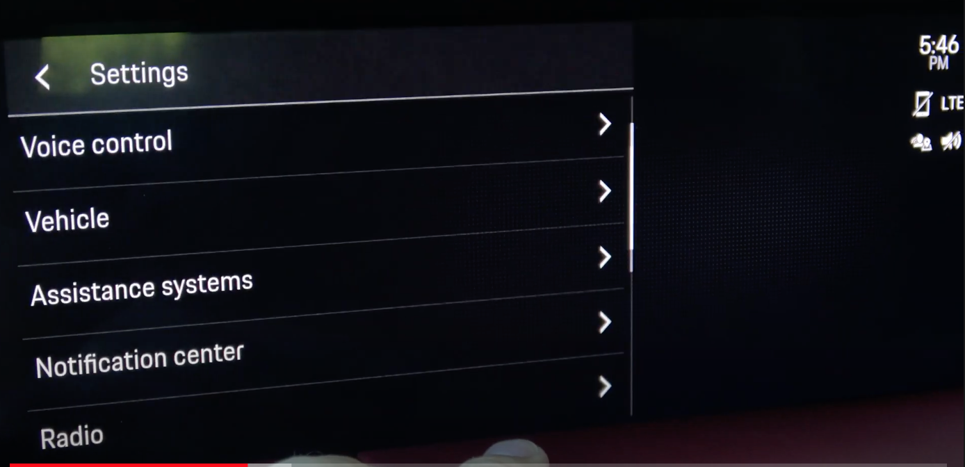 A screen listing various infotainment settings