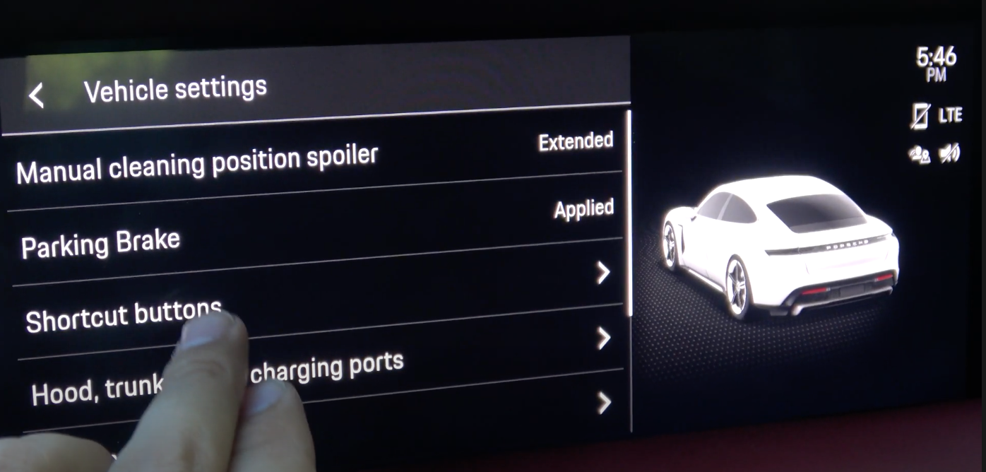A screen showing a list of various vehicle settings