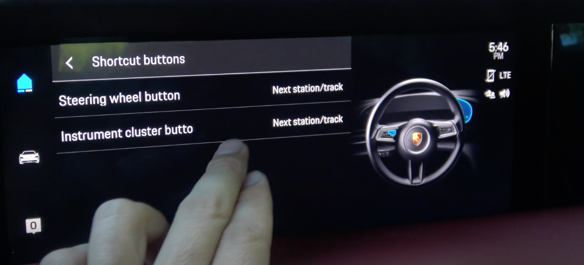 The settings screen to add steering wheel shortcuts