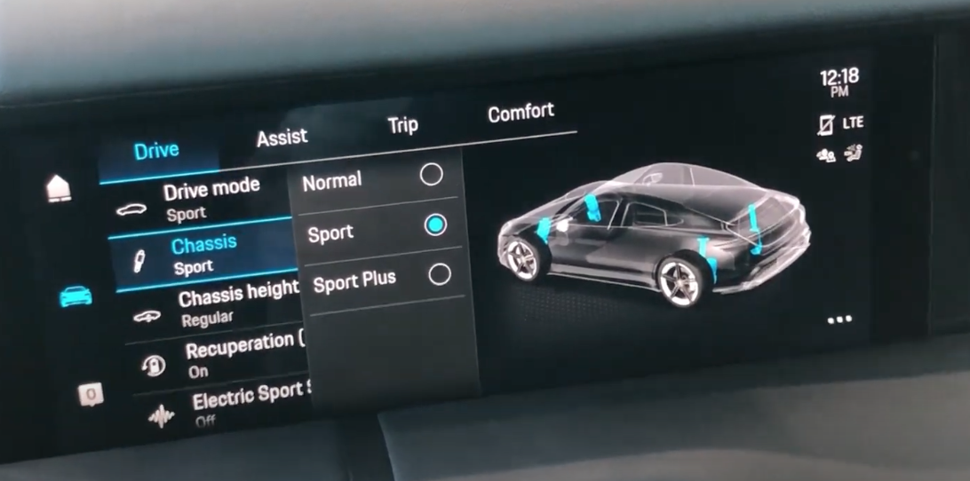 A screen with an overlay menu for selecting vehicle chassis dynamics