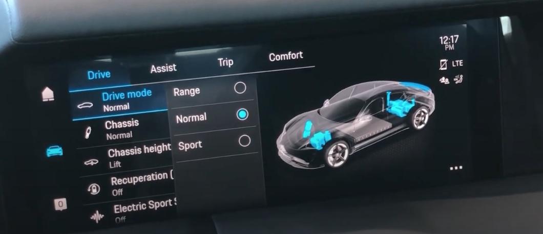 A screen showing a menu to choose electric vehicle range modes