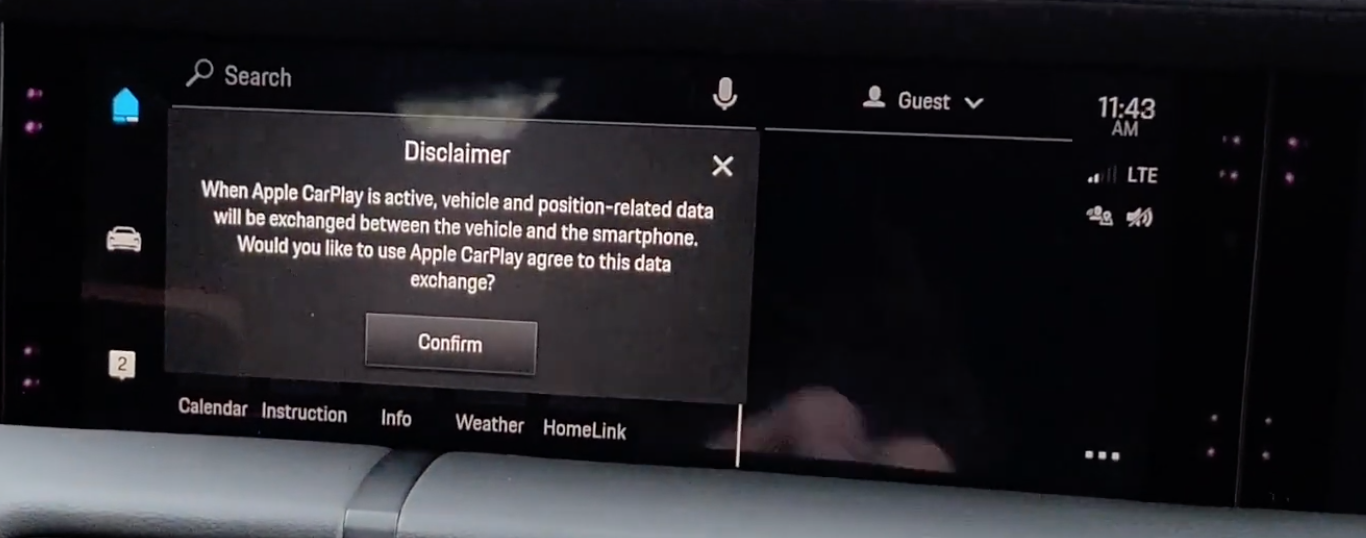 A disclaimer explaining data exchange between the car and a smartphone
