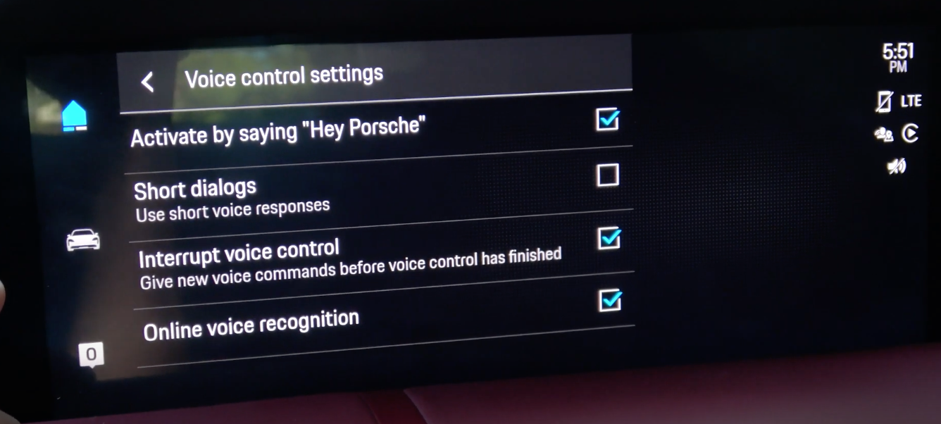 The settings for the voice assistant