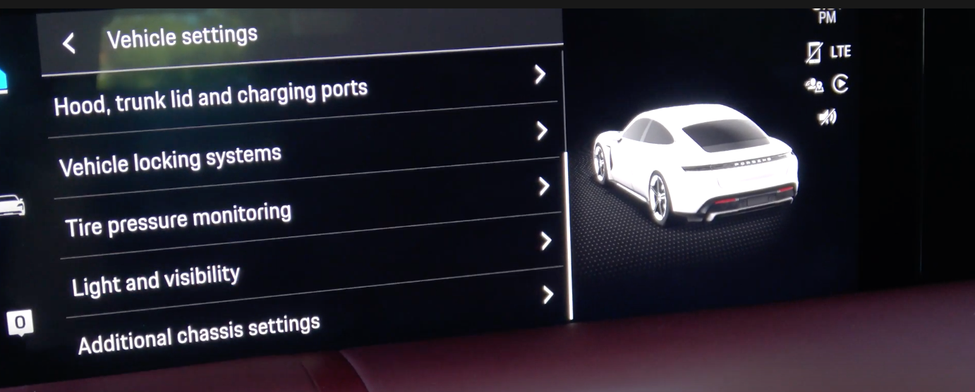 A list of various vehicle settings