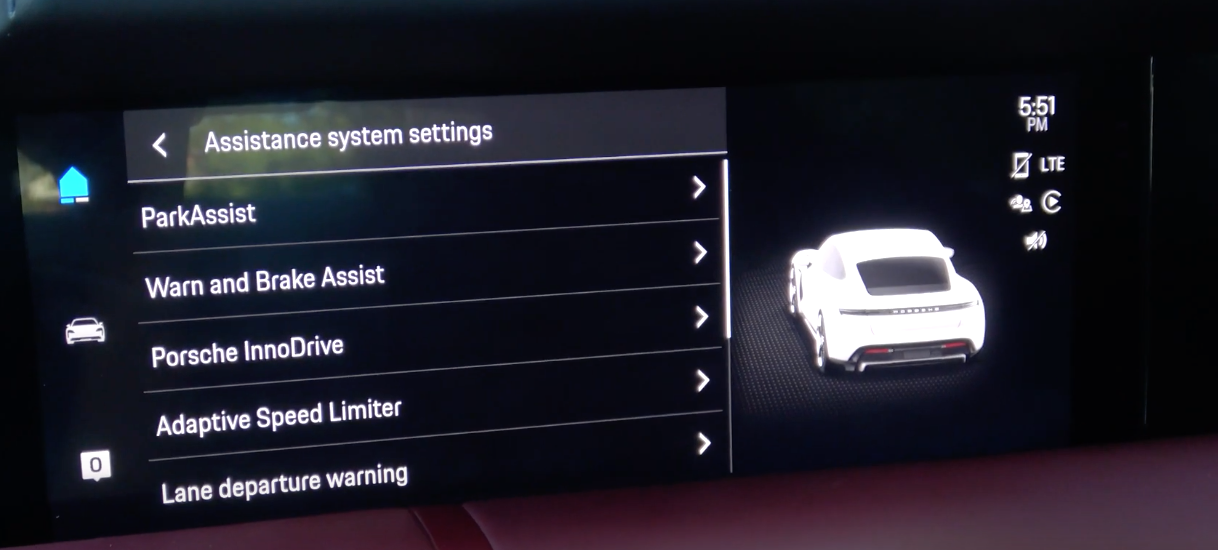 A list of various driver assistance settings