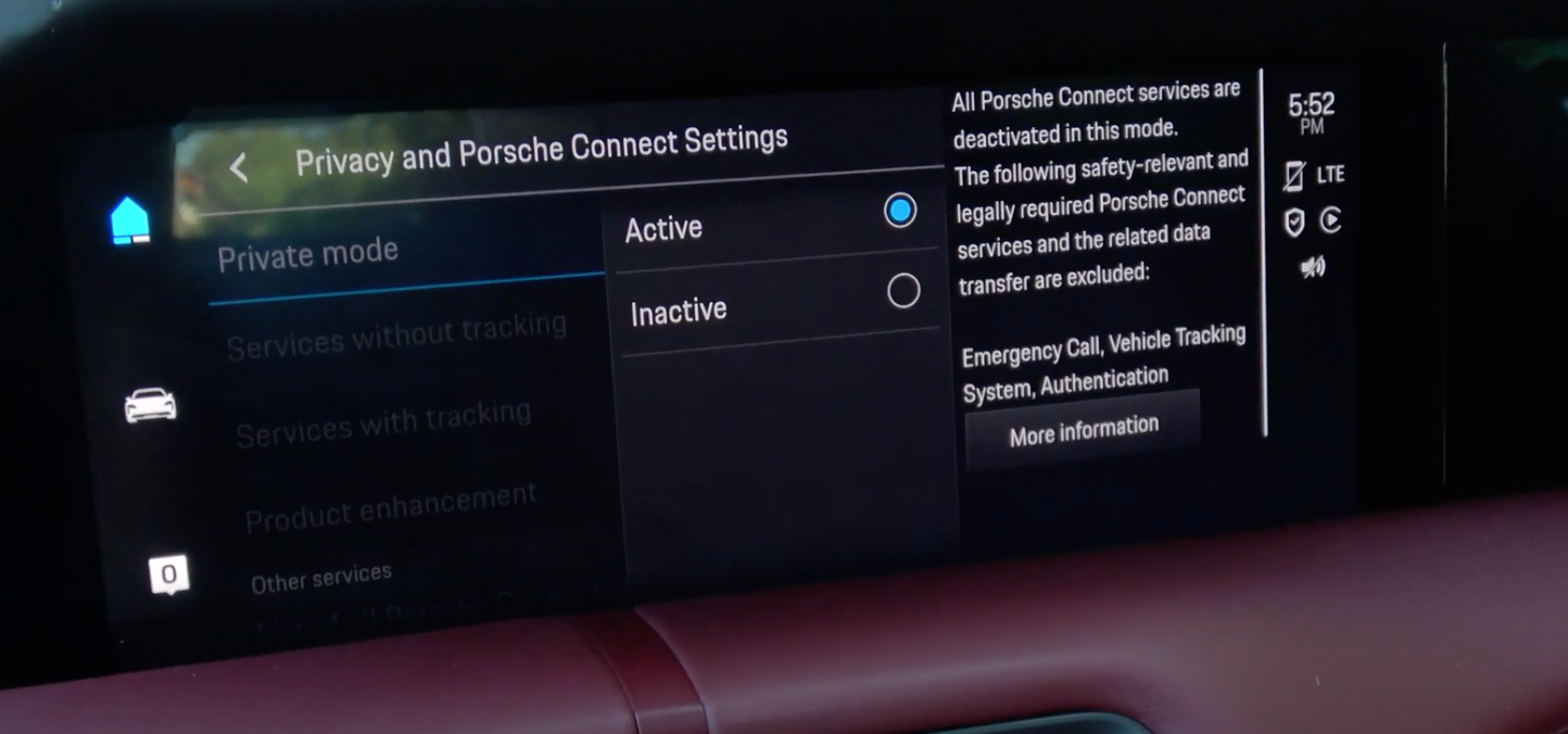 Private mode settings with the options active and inactive