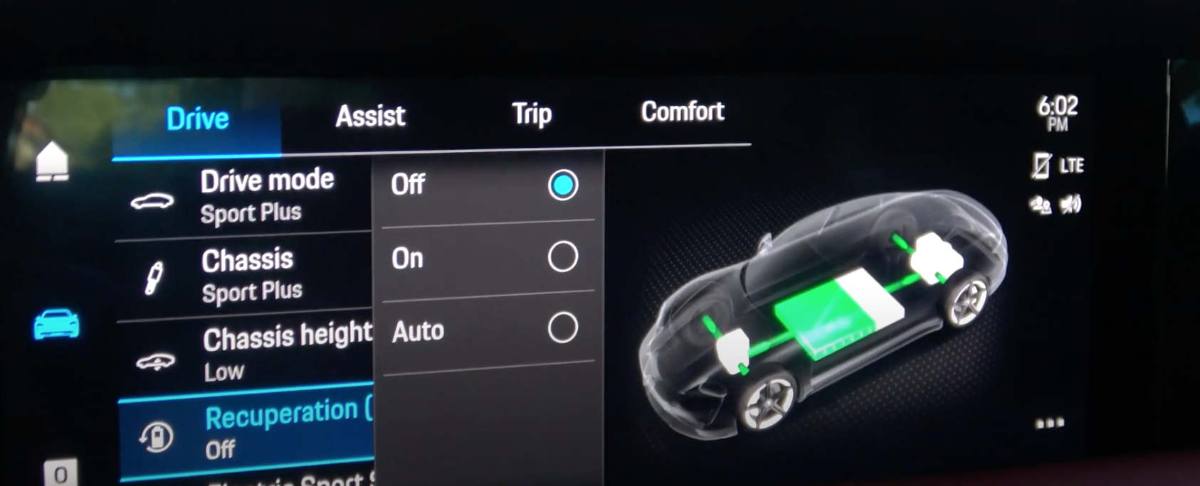 Driving mode settings with the option to turn the recuperation on and off