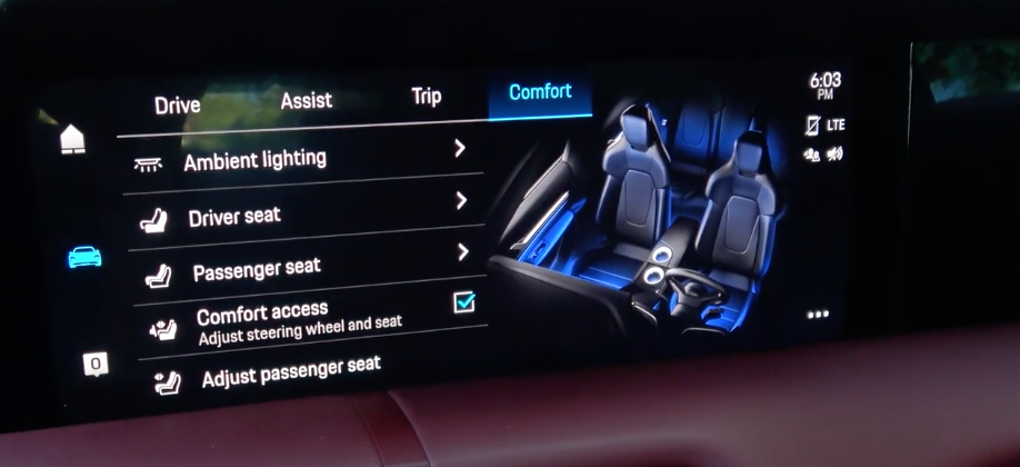 A settings menu for adjusting driver and passenger seats