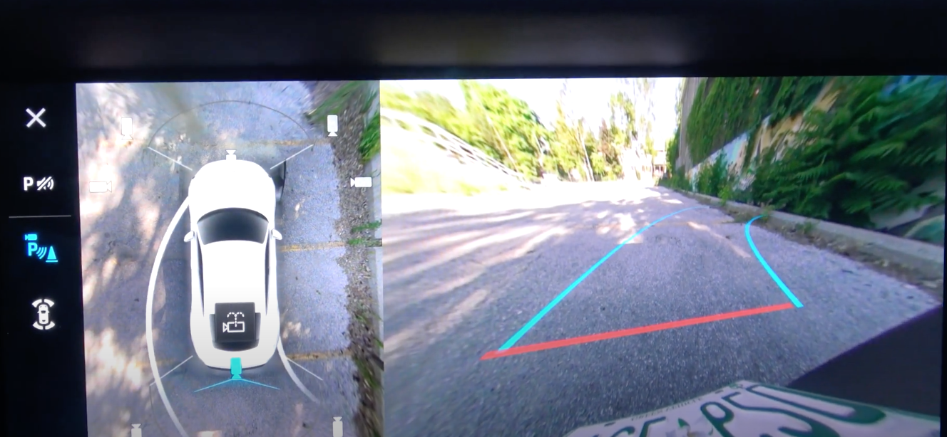 Rearview camera view on the infotainment system to assist with parking