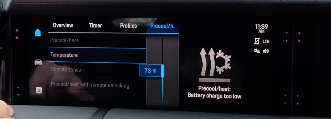 Slider button to preset the temperature of a car