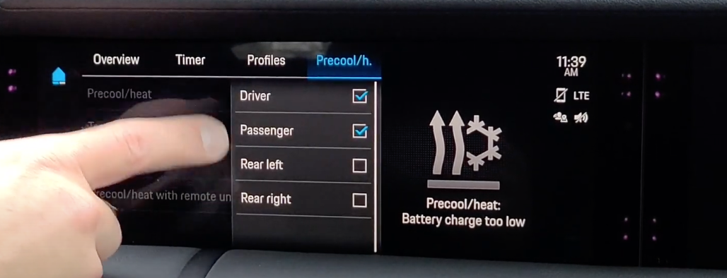 A user selecting what part of the car needs a preseted temperature from a drop down menu
